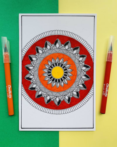 Mandala using watercolour brush pens