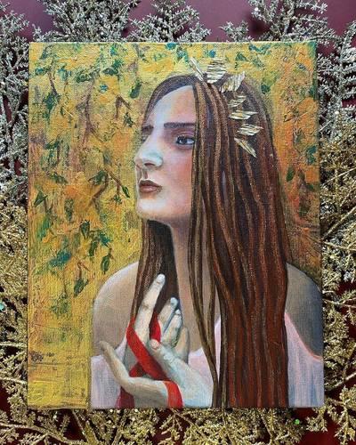 Acrylic painting on canvas Girl