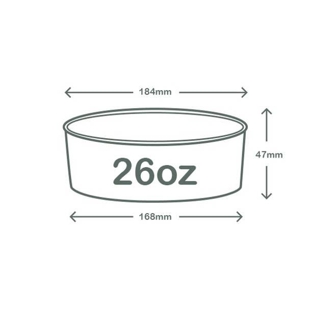 26oz (770ml) Wide Paper Bowl - White - 185 Series