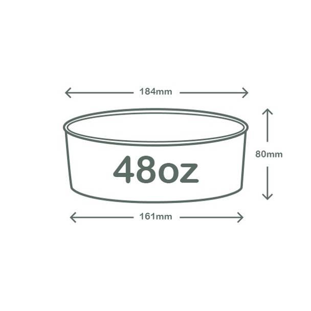48oz (1420ml) Wide Paper Bowl - White - 185 Series