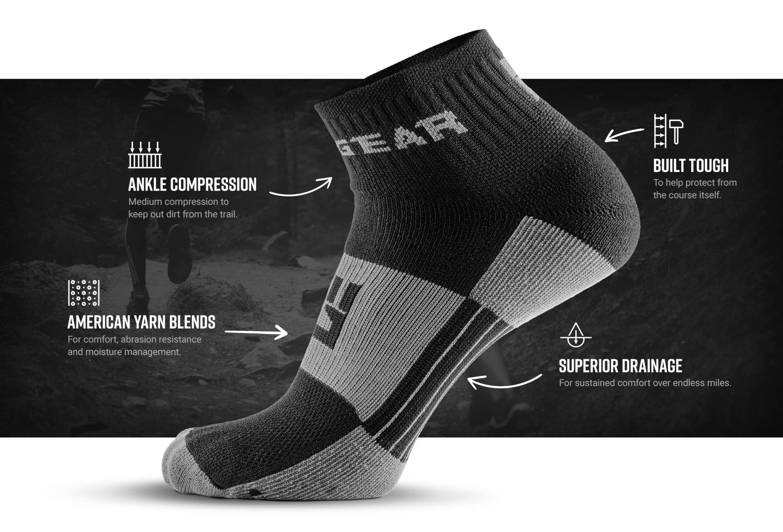 Infographic of 1/4 Crew Socks - Gray/Black (2 pair pack)