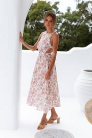 Esther Dress - Tan Floral