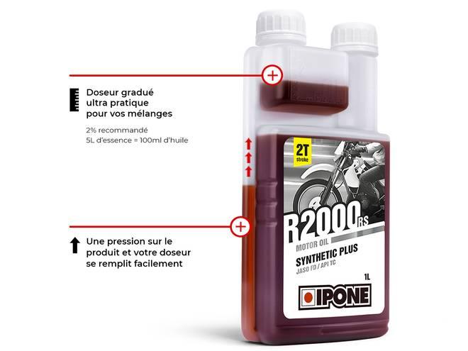 IPONE R2000 RS HUILE MOTEUR 2 TEMPS bidon doseur gradué pratique et facile