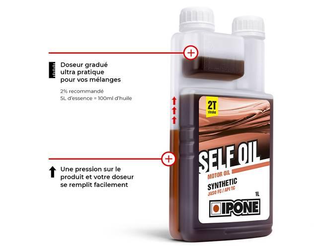 IPONE SELF OIL HUILE MOTEUR 2 TEMPS bidon doseur gradué pratique et facile