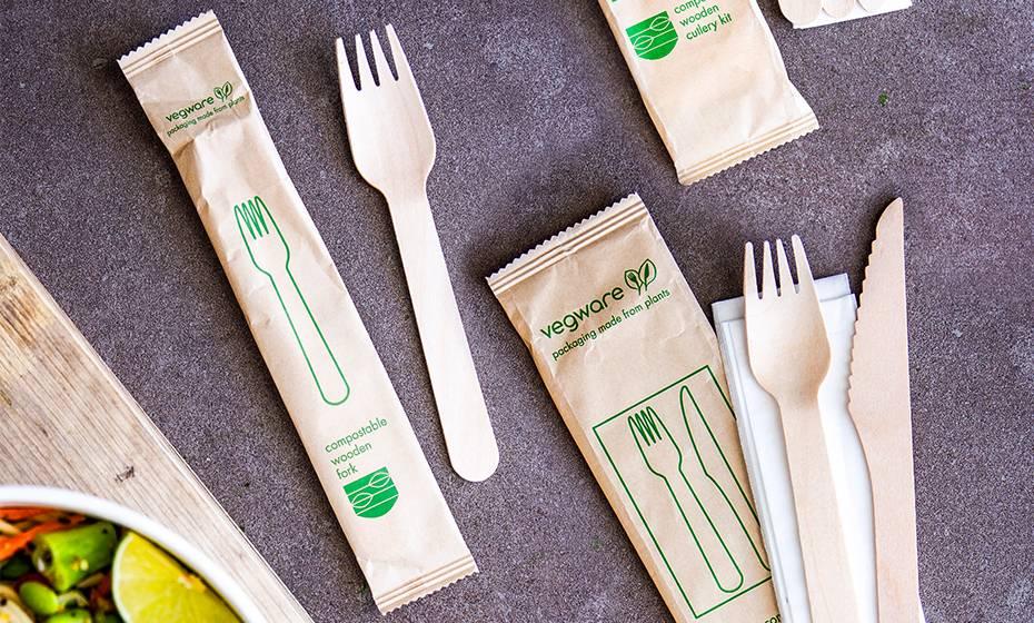 16cm wooden fork in kraft paper bag