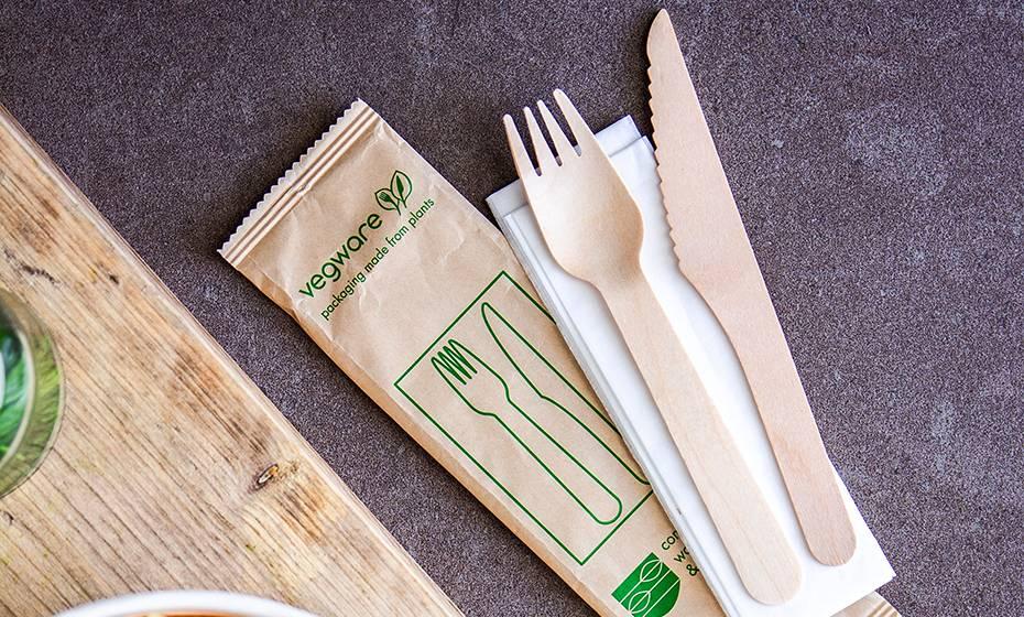 16cm wooden cutlery set Knife, Fork with Napkin in kraft paper bag