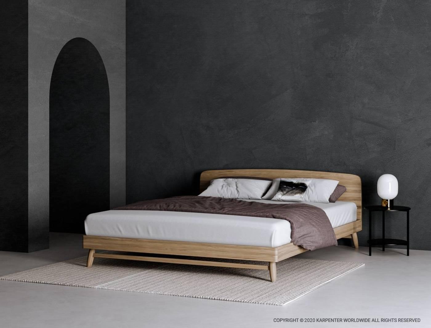 Twist Double Bed - European Oak