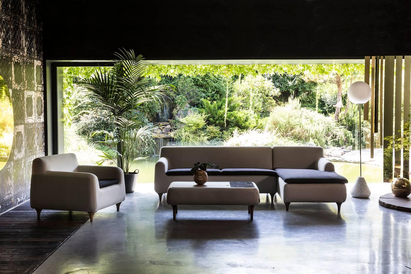 Etna Sofa 3 Seater Walnut| Grey Black