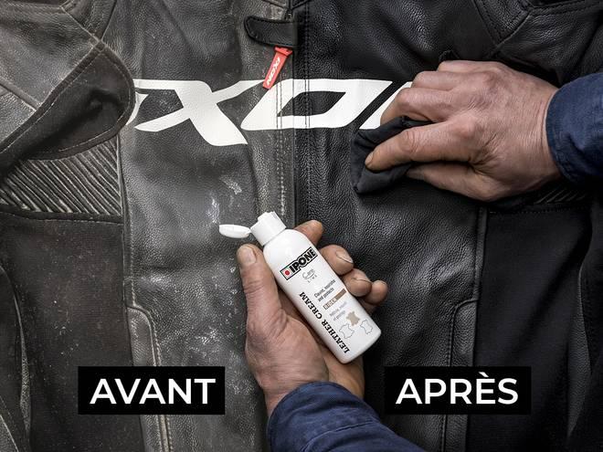Nettoyage d'un blouson en cuir moto avec le produit LEATHER CREAM IPONE