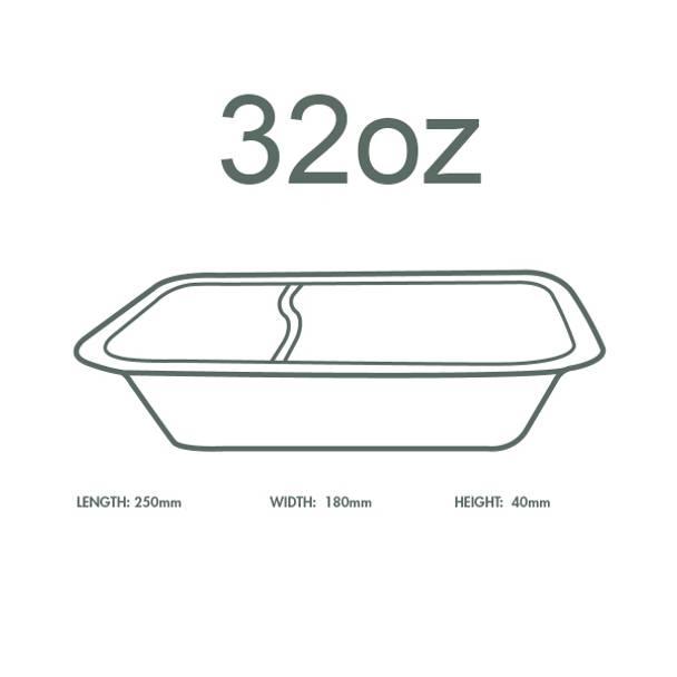32oz (1000ml) White Bagasse Base - 2 Compartment - V5 Range