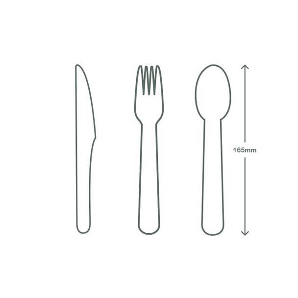 Green Cutlery Set - Knife, Fork, Spoon, Napkin 16cm in bio bag