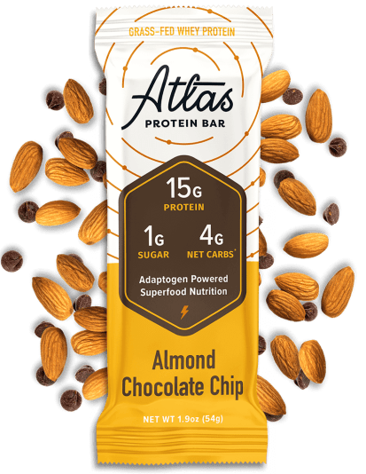 Atlas Bar Almond Chocolate Chip with ingredients