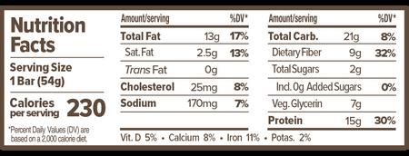 Atlas Bar Almond Chocolate Chip Nutritional Label