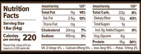 Atlas Bar Chocolate Cacao Nutritional Label