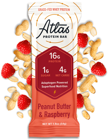 Atlas Bar Peanut Butter & Raspberry with ingredients