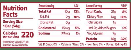 Atlas Bar Peanut Butter & Raspberry Nutritional Label
