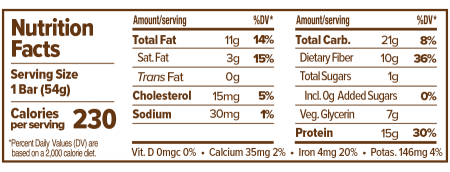 Atlas Bar Peanut Butter Chocolate Chip Nutritional Label