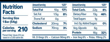 Atlas Bar Vanilla Almond Chai Nutritional Label