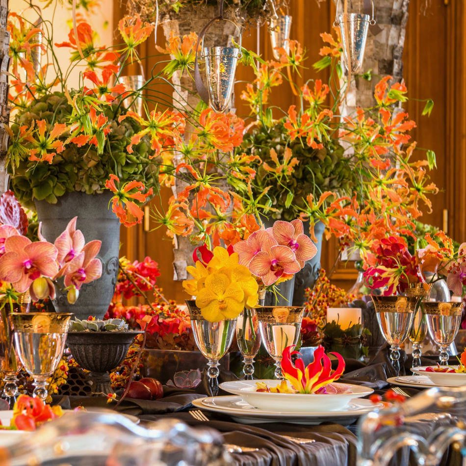 Autumn themed floral display.