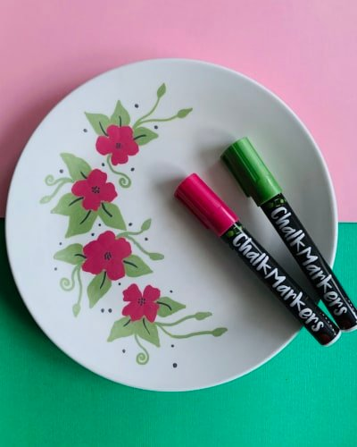 Chalk Markers on a Ceramic Plate