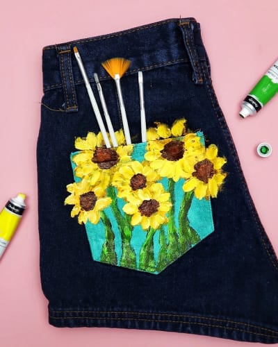 Hand-Painted Sunflower on DIY Jeans Using Acrylic Paint