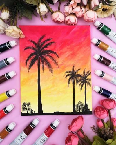 Palm Tree Sunset Acrylic Painting