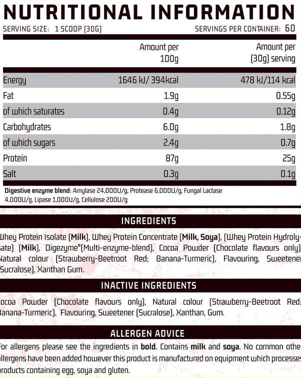 OP3 Whey Protein - Tri Complex (900g) ingredients