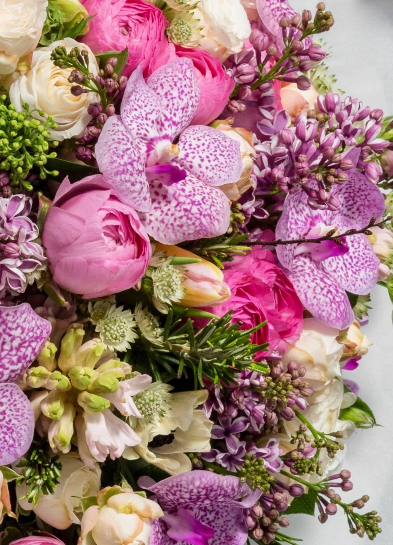 Pink and pastel floral arrangement.