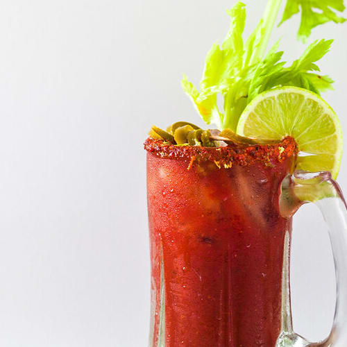 Spicy bloody maria made with Sonoma Gourmet's bloody mary mix
