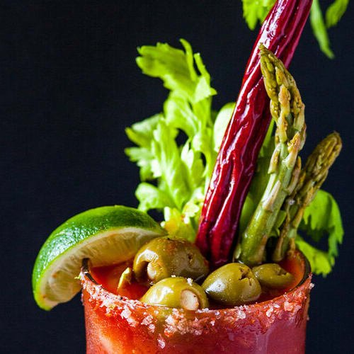 Ultimate bloody mary made with Sonoma Gourmet's bloody mary mix