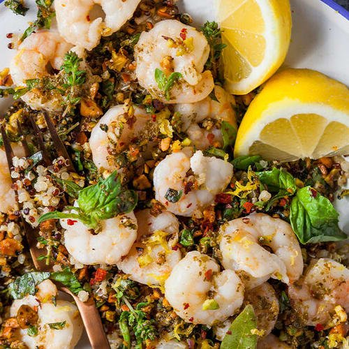 Olive oil poached shrimp with gremolata made with Sonoma Gourmet's basil parmesan olive oil