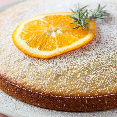 Orange rosemary olive oil cake made with Sonoma Gourmet's orange rosemary olive oil