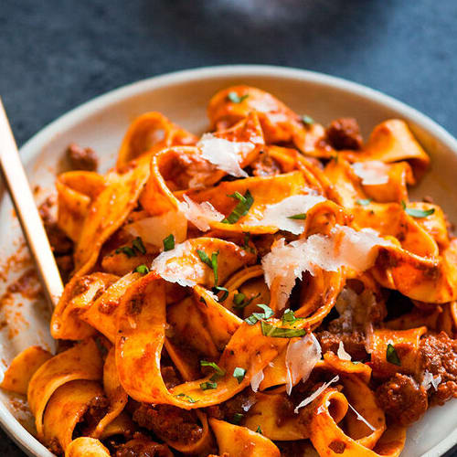 Beef bolognese made with Sonoma Gourmet's vodka cream sauce and garlic herbs olive oil