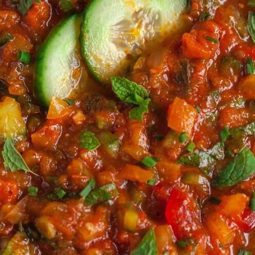 Gazpacho made with Sonoma Gourmet's roasted veggie sauce