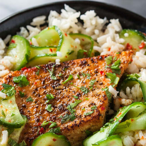 Spicy salmon rice bowl made with Sonoma Gourmet's sauteed garlic olive oil