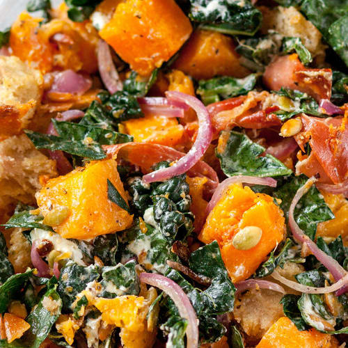 Squash & prosciutto panzanella salad made with Sonoma Gourmet's sauteed garlic olive oil and garlic herbs olive oil