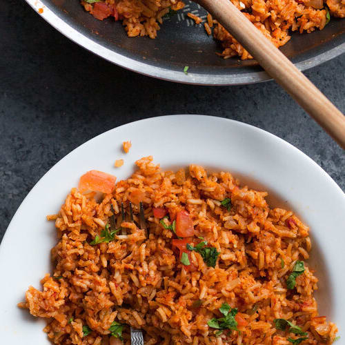 Mexican rice made with Sonoma Gourmet's roasted garlic sauce and roasted chiles olive oil