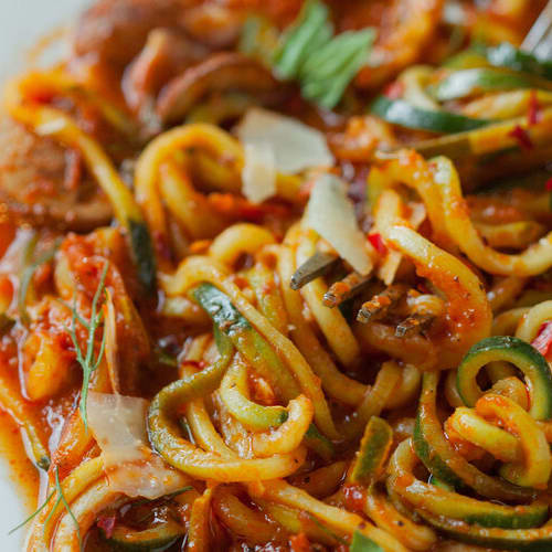 Vodka cream zoodles made with Sonoma Gourmet's vodka cream sauce and garlic herbs olive oil