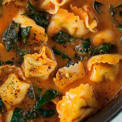 Butternut, tomato & tortellini soup made with Sonoma Gourmet's butternut squash sauce and cherry tomato basil sauce