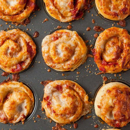Pizza muffins made with Sonoma Gourmet's heirloom tomato pizza sauce