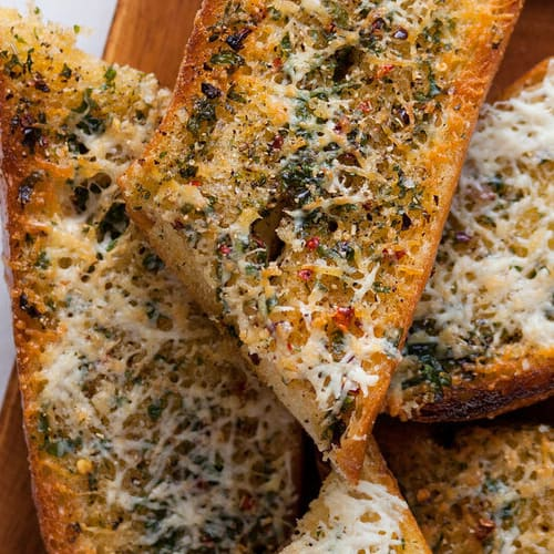 Easy garlic bread made with Sonoma Gourmet's garlic herbs olive oil