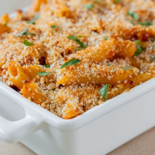 Butternut mac & cheese made with Sonoma Gourmet's butternut squash sauce and sauteed garlic olive oil