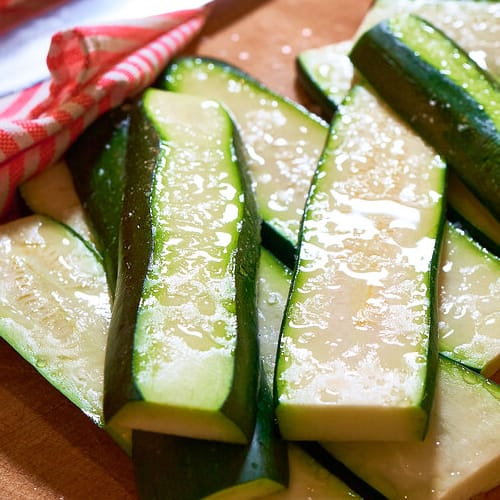 Grilled basil zucchini made with Sonoma Gourmet's basil parmesan olive oil