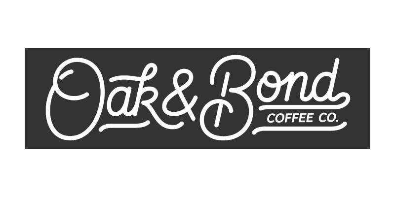 Oak and Bond Coffee Co. text logo in script font