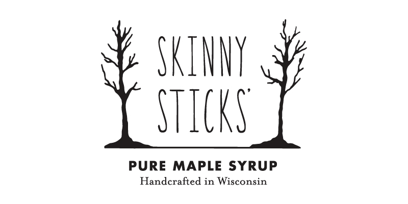 Skinny Sticks' Pure Maple Syrup logo with text Handcrafted in Wisconsin and two skinny maple trees with no leaves