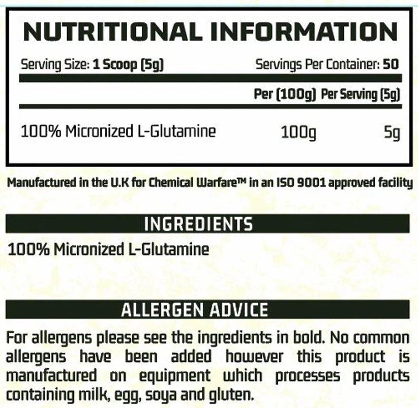 Micronised L Glutamine 250g ingredients
