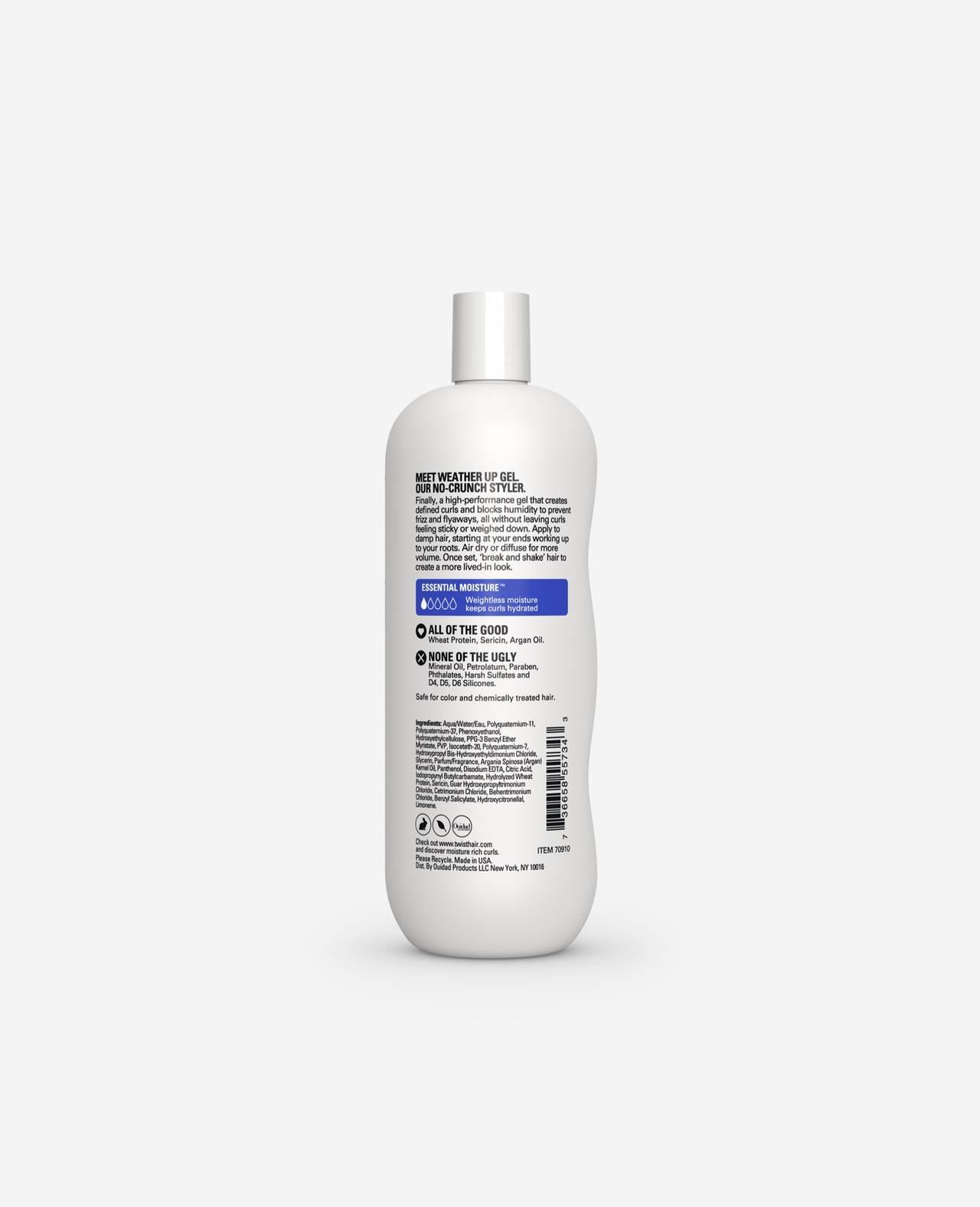 Twist Weather Up Gel Weightless Curl Defining Gel Essential Moisture for Curls 10.5 fl. Oz. back of  bottle