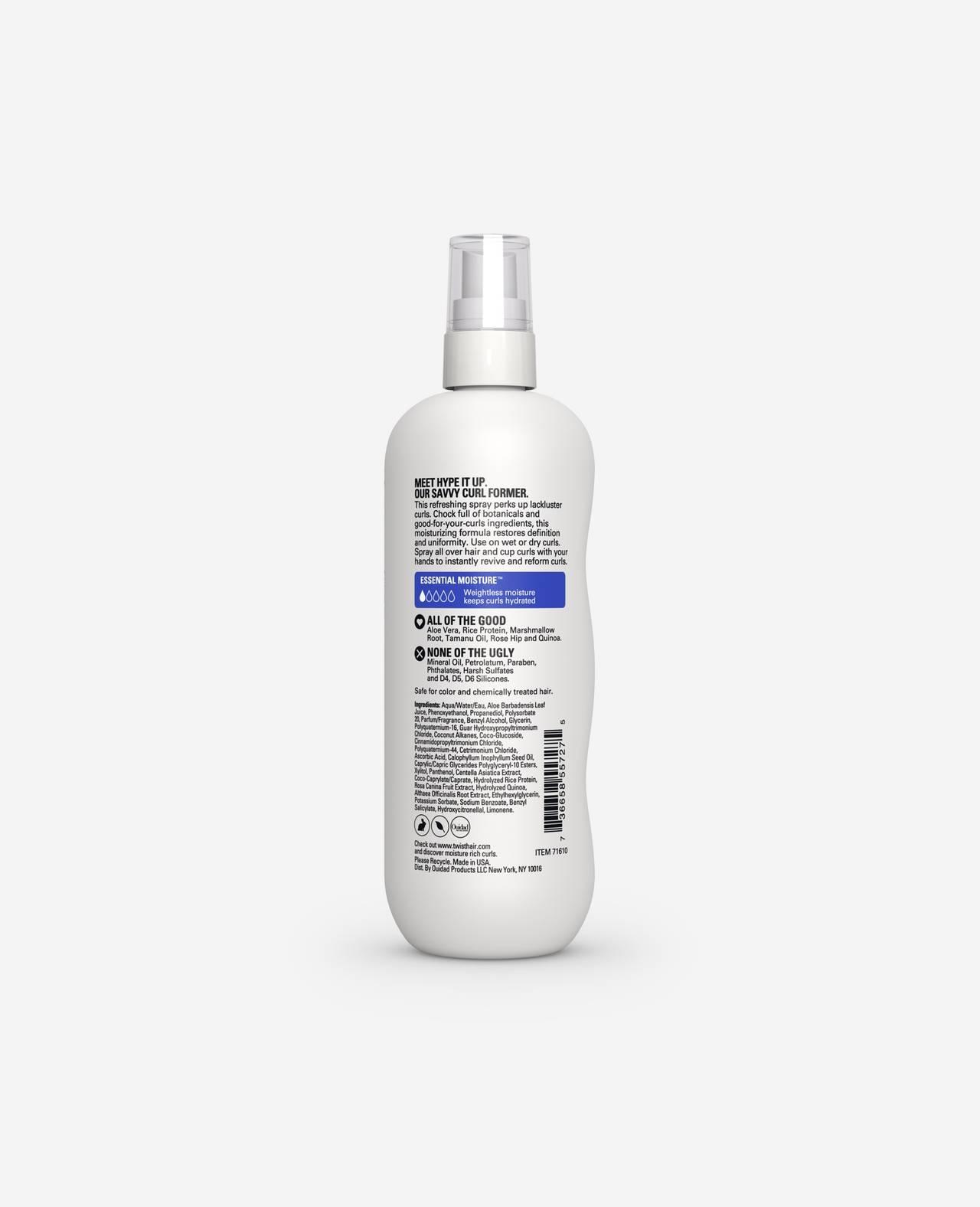 Twist Hype it Up Refreshing Spray Essential Moisture for Curls 10.5 fl. Oz. back of spray bottle