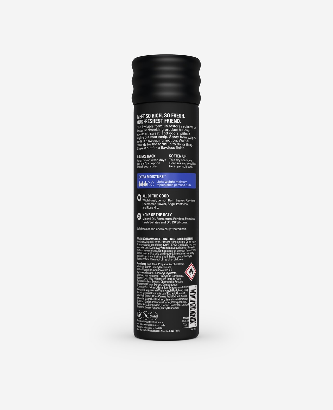 Twist So Rich So Fresh Cleansing and Conditioning Dry Shampoo Extra Moisture for Curls 6.1 oz back of spray can