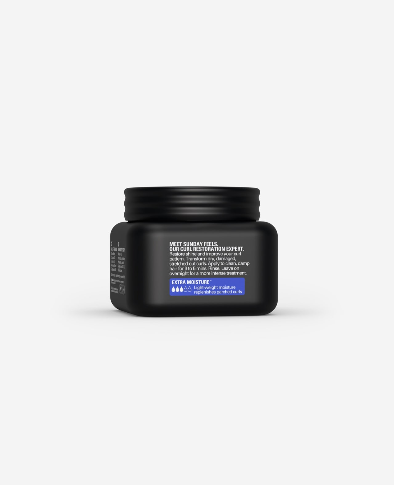 Twist Sunday Feels Deeply Hydrating Hair Mask Extra Moisture for Curls 8.5 oz. description side of container